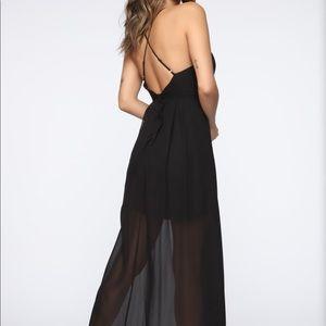 NWT Fashion Nova Black Strappy Mesh Maxi Dress